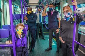 Translink Staff wearing face coverings on Glider